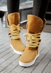 Stivali punta rotonda pesante con la suola casuale metà polpaccio giallo