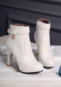 White Round Toe Stiletto Zipper Casual Ankle Boots