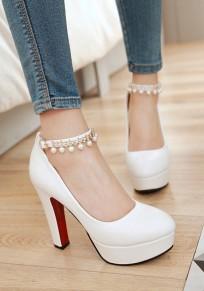 Weiß Runde Zehe Blockabsatz Perlen Fesselriemen Süße Hochhackige High Heels Damen Party Schuhe