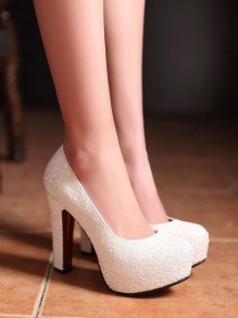 White Round Toe Chunky Platform Pumps Sequin Sparkly Bride Wedding Prom High-Heeled Shoes