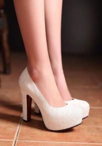 Chaussures bout rond gros paillettes de mode à talons hauts blanc