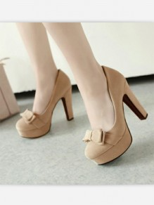 Apricot Round Toe Chunky Bow Sweet High-Heeled Shoes
