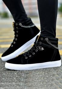 Chaussures bout rond affection en métal décontracté lacée plat noir
