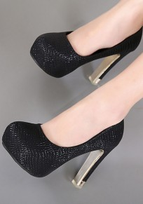 Black Round Toe Chunky Casual High-Heeled Shoes