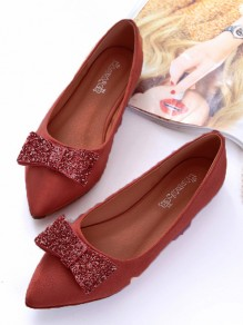 Pink Point Toe Sequin Bow Plus Size Cute Flat Dress Shoes