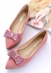 Scarpe punto punta paillettes farfallino casuale piatta rosa