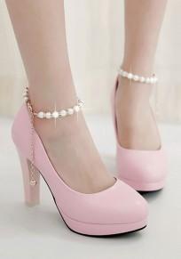 Scarpe punta rotonda perline grosso dolce tacco alto rosa