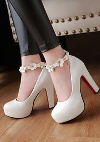 Weiß Runde Zehe Blockabsatz Geblümt Fesselriemen Mode Schuhe Damen Pumps