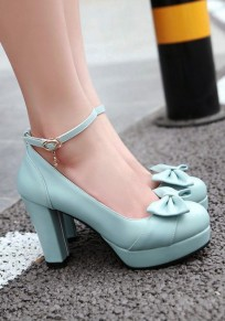 Blue Round Toe Chunky Bow Buckle Casual High-Heeled Shoes