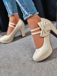 Beige Round Toe Chunky Bow Sweet High-Heeled Shoes