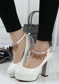 Scarpe girocollo alla moda arrotondata tacco alto bianco