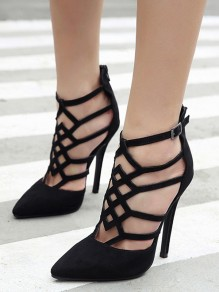 Black Point Toe Stiletto Gladiator Hollow-out Fashion High-Heeled Shoes