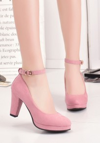 Chaussures bout rond grosse boucle mode à talons hauts rose
