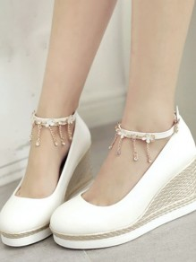 White Round Toe Chain Buckle Casual Wedges Shoes