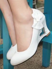 White Round Toe Bow Hollow-out Fashion Wedges Shoes