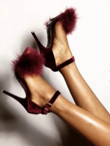 Burgundy Round Toe Stiletto Faux Fur Patchwork Fluffy High-Heeled Suede Sandals
