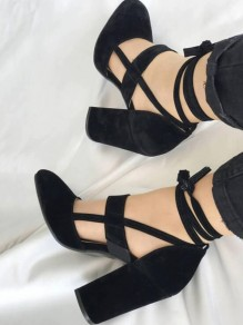 Black Round Toe Chunky Cut Out Lace-up Casual High-Heeled Shoes