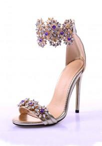 Golden Round Toe Stiletto Rhinestone Zipper Fashion High-Heeled Sandals
