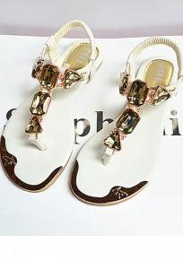 Sandalias puntera redonda de cadena plana diamante de imitación tobillo casuales blanco