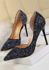 Scarpe tacco A punta di punta di punta con tacco alto blu