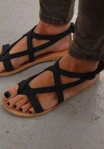 Schwarze Runde Zehe Flache Wölbung Beiläufige Knöchel Römer Zehentrenner Sommer Sandalen Damen Schuhe