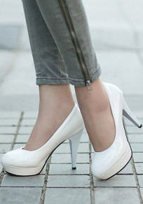 White Round Toe Stiletto Fashion High-Heeled Shoes