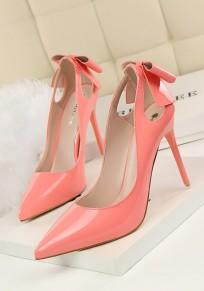 Scarpe punto punta stiletto tagliato cravatta A fiocco dolce tacco alto rosa