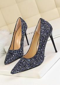 Zapatos punta punta estilete moda lentejuelas de tacón alto azul