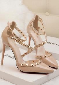 Chaussures orteil point stylet rivet boucle mode à talons hauts abricot