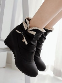 Black Within The Higher Bow Sweet Ankle Boots