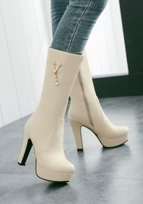 Beige Round Toe Chunky Zipper Casual Mid-Calf Boots