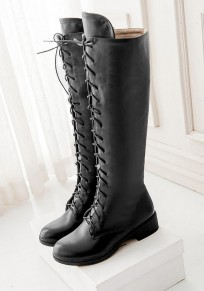 Black Round Toe Chunky Zipper Casual Knee-High Boots