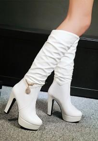 Stivali punta rotonda strass moda A metà polpaccio bianco