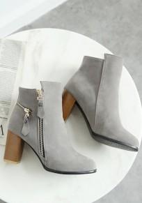 Graue runde Zehe klobig Reißverschluss Beiläufig Knöchel Boots