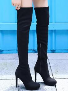Bottes haute talons bout rond cuissarde fermeture éclair femme mode noir