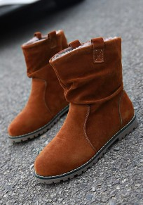 Camel Round Toe Flat Suede Casual Ankle Boots