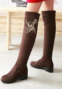Stivali punta rotonda con motivo floreale stampato sopra il ginocchio marrone