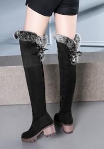 Stivali punta rotonda in pelliccia sintetica moda sopra il ginocchio nero