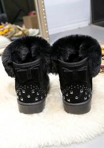 Schwarz Runde Zehe Schleife Niet Fell Warme Gefütterte Flache Stiefel Damen Schlupfstiefel Stiefeletten Winter Boots