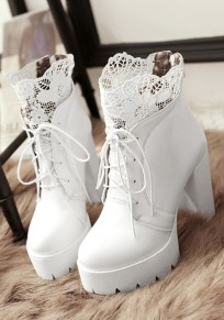 White Round Toe Lace Chunky Ankle Boots