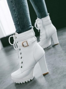 White Round Toe Chunky Buckle Lace up Fashion Prom High Heeled Ankle Boots