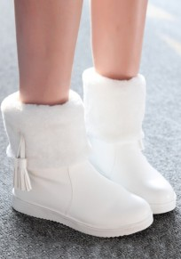 White Round Toe Flat Tassel Fashion Ankle Boots