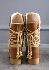 Stivali punta rotonda A forma di allacciatura A metà polpaccio marrone