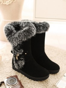 Black Round Toe Flat Faux Fur Fashion Mid-Calf Boots