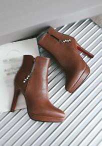Braun Punkt Zehe Stilett Strass Mode Stiefeletten
