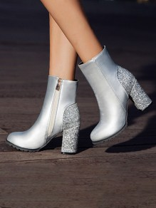 Silver Round Toe Chunky Sequin Sparkly Fashion High Heeled Ankle Boots