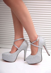 Silver Round Toe Stiletto Rhinestone Fashion High-Heeled Shoes