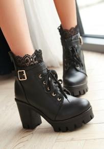 Black Round Toe Chunky Lace Stitching Fashion Boots