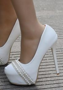Weiße runde zehe Stilett Perlen Art- und Weisehochhackige Schuhe