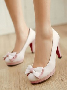 White Round Toe Bow Patchwork Sweet High-Heeled Shoes